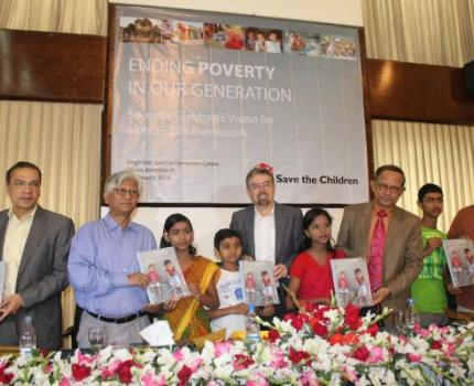 Save the Children has unveiled a report in Bangladesh titled 'Ending Poverty in Our Generation'
