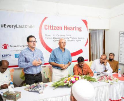 Country Director joins in a local citizens' hearing on health